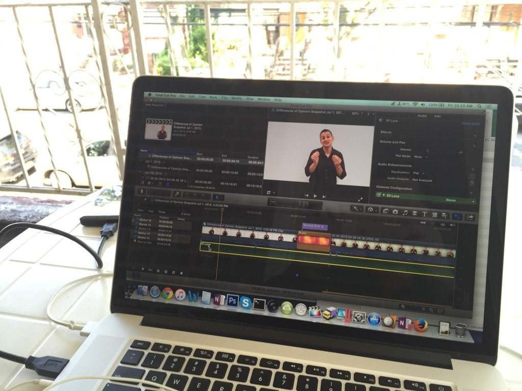 Editing Kowalke Coaching demo video on my balcony.
